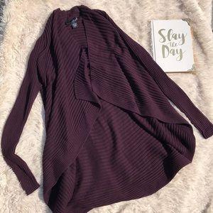 Willi Smith Solid Dark Purple Cardigan Sweater